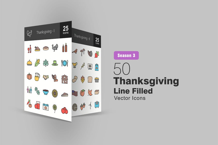 50 Thanksgiving Filled Line Icons