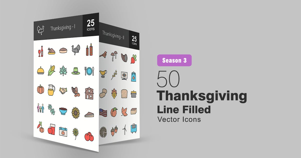 Download 50 Thanksgiving Filled Line Icons by IconBunny