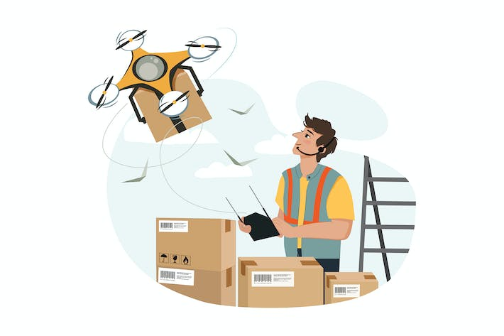 Thumbnail for Young man controls drone delivery illustration