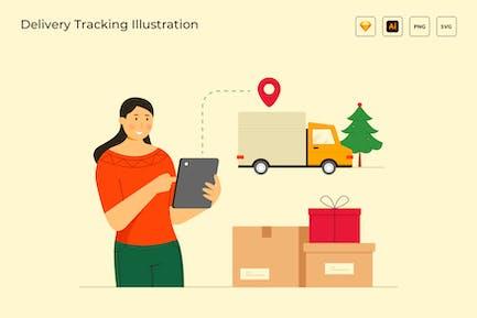 Ilustración de seguimiento de entregas