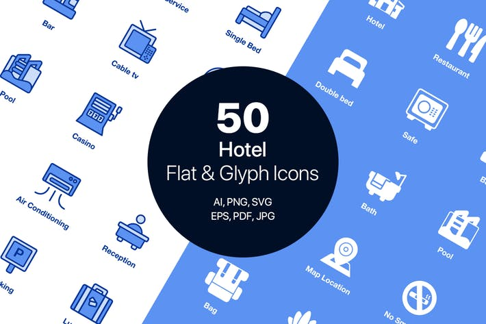 Thumbnail for 50 Hotel Flat & Glyph Icons