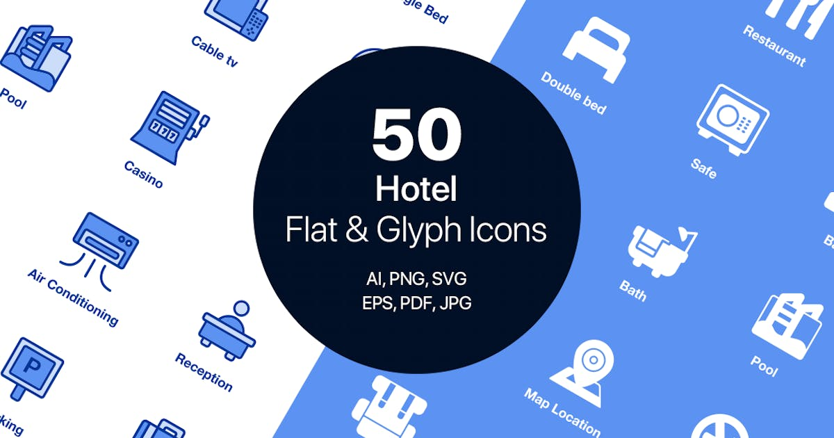 Download 50 Hotel Flat & Glyph Icons by CreativesCastle