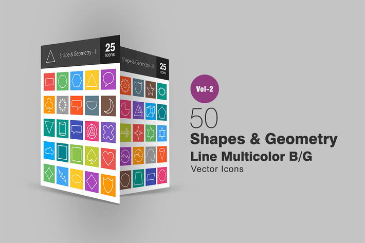 Thumbnail for 50 Shapes & Geometry Line Multicolor Icons