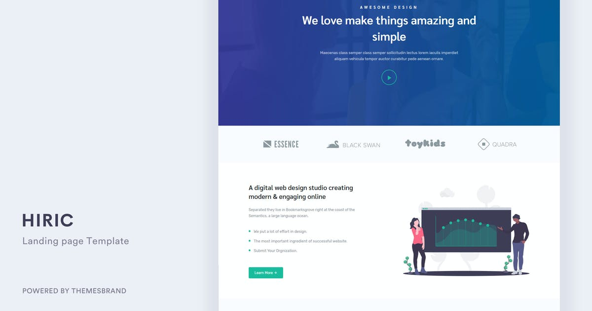 Download Hiric - Responsive Landing Page Template by Themesbrand