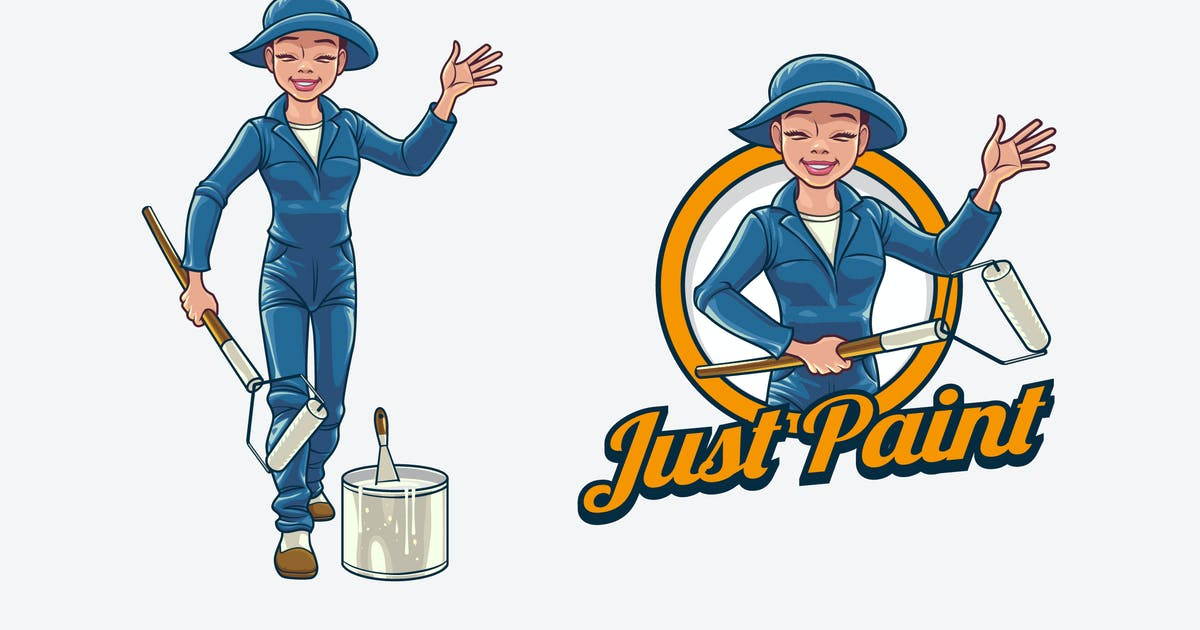 Download Retro Female Painter Mascot Logo by Suhandi
