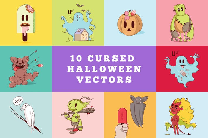 Thumbnail for 10 Cursed Halloween Vectors