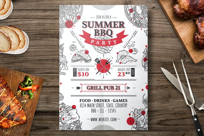 Cover Image For Hand Drawn Barbecue Grill Flyer Template
