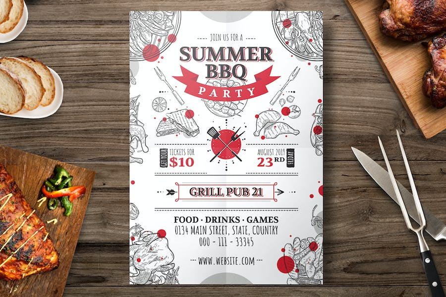 Hand Drawn Barbecue Grill Flyer Template
