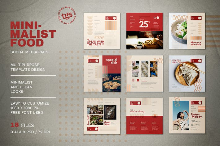 Thumbnail for Minimalist Food Social Media Pack