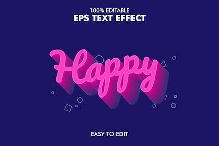 Happy -  Editable 3D Text Effect EPS