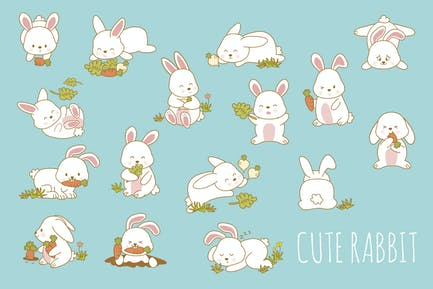Niedliches Kaninchen, handgezeichnet
