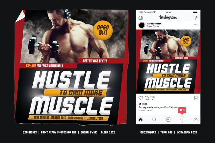 Thumbnail for Fitness Square Flyer & Instagram Post