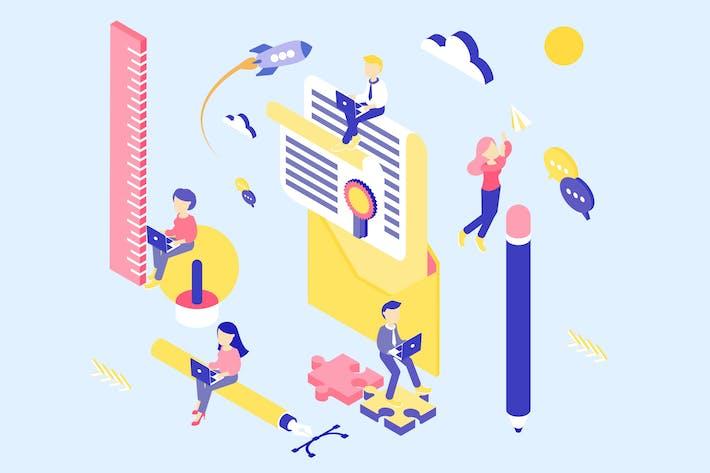 Thumbnail for Branding Isometric Illustration