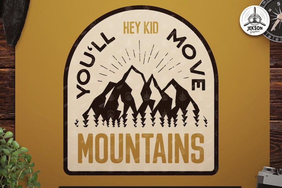 Retro Mountains Badge / Vintage Travel Logo Patch