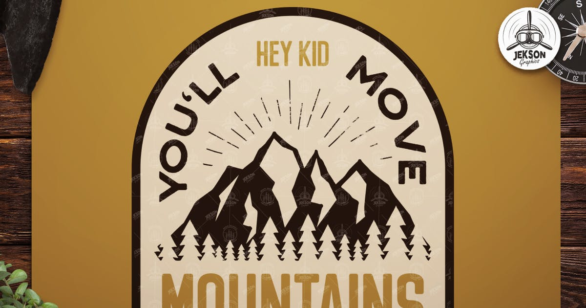 Download Retro Mountains Badge / Vintage Travel Logo Patch by JeksonJS