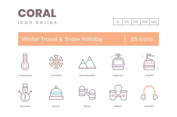 Thumbnail for 85 Winter Travel & Snow Holiday Line Icons