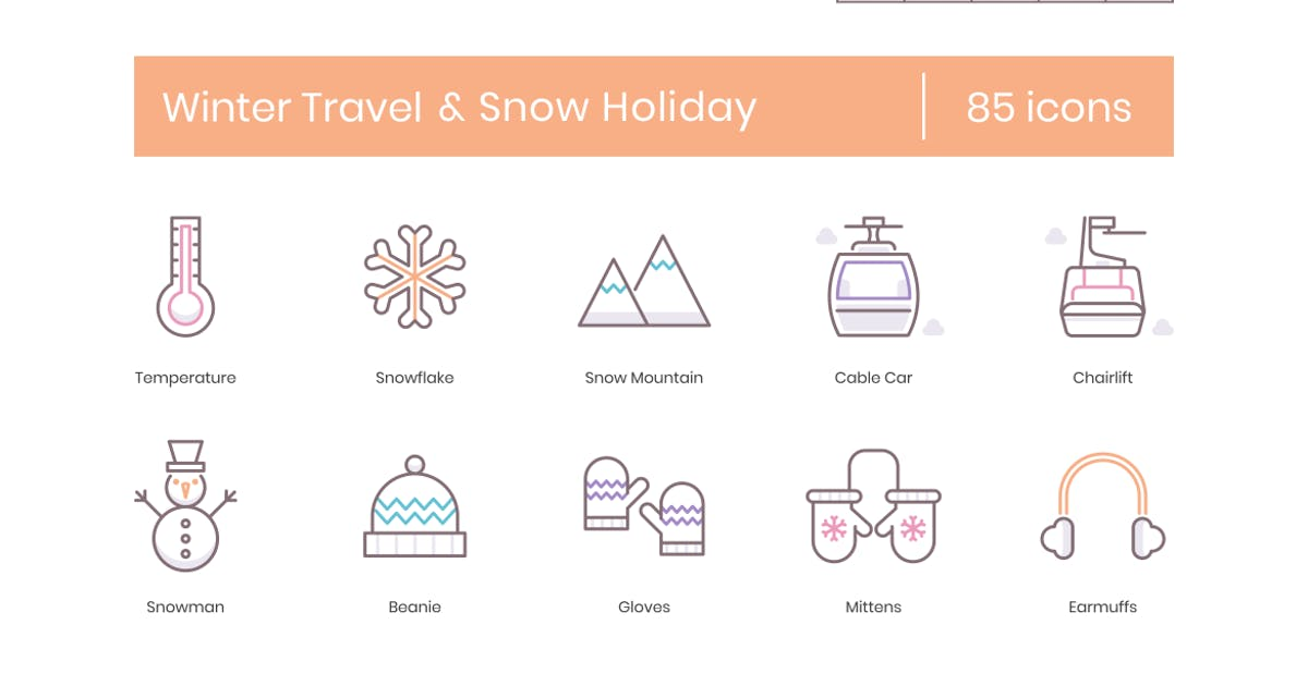 Download 85 Winter Travel & Snow Holiday Line Icons by Krafted