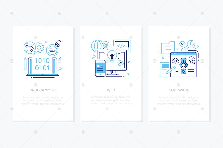 Thumbnail for Programming concept - line design style banners