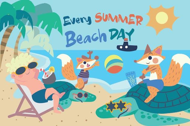 Beach Day - Vector Illustration