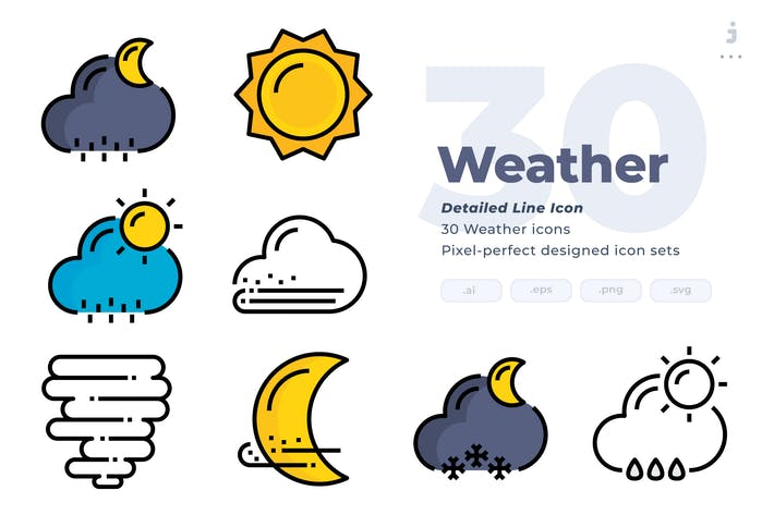 Thumbnail for 30 Weather Icons - Detailed Line Icon