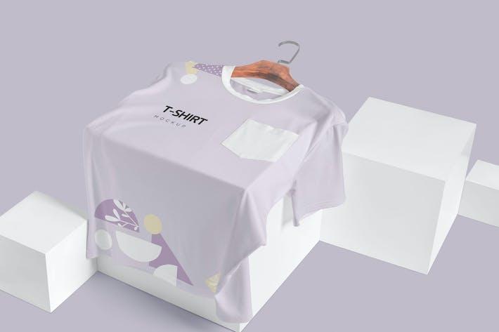 Half Sleeves Crew Neck Pocket T-shirt Mockups