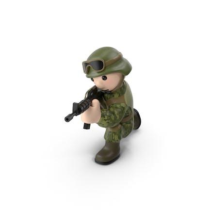 Soldado disparando desde la rodilla