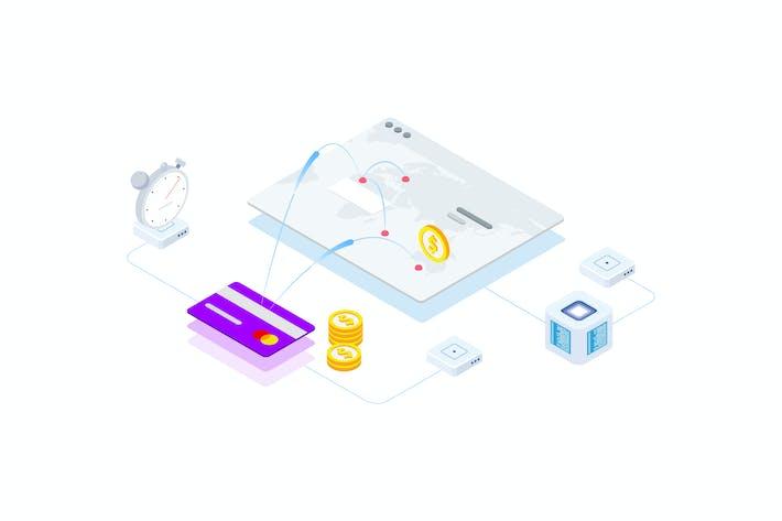Thumbnail for Transfers Money on Blockchain Isometric 6 - FV