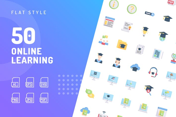 Thumbnail for Online Learning Flat Icons