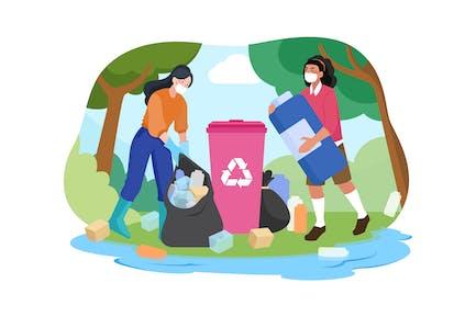 Plastic Pollution Illustration Concept