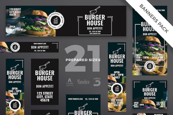 Thumbnail for Burger Restaurant Banner Pack Template