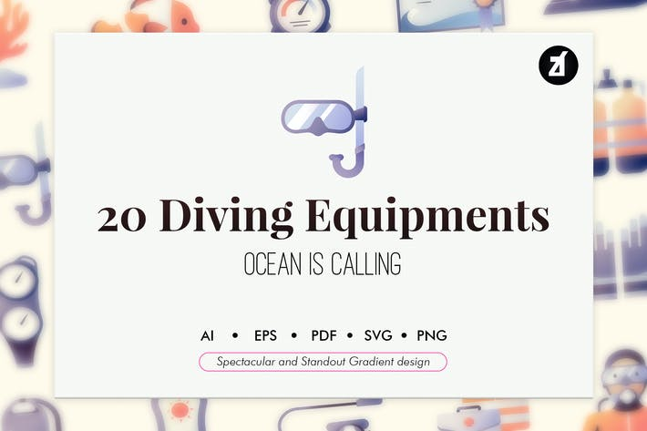 Thumbnail for 20 Diving equipment elements