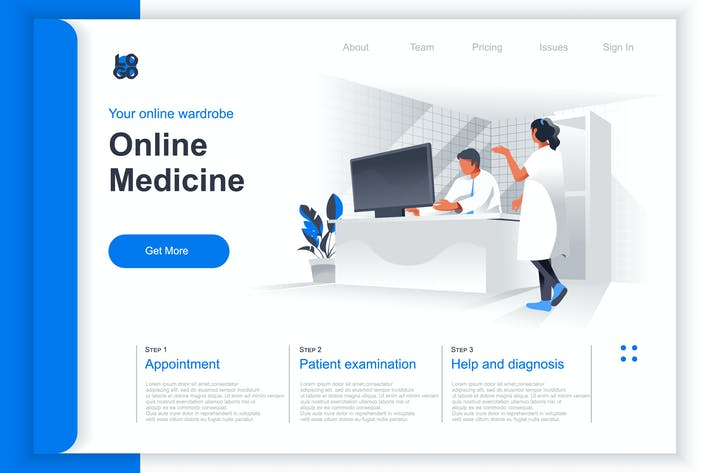 Thumbnail for Isometric Online Medicine Perspective Flat Concept