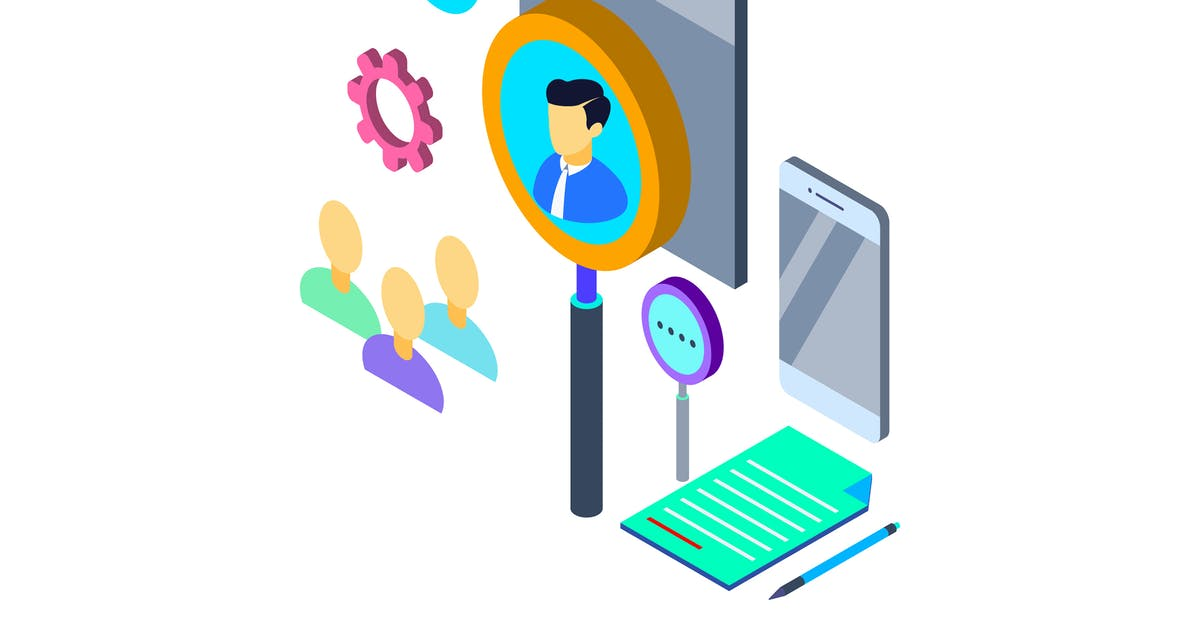 Download Find the Right Person Isometric Illustration by angelbi88
