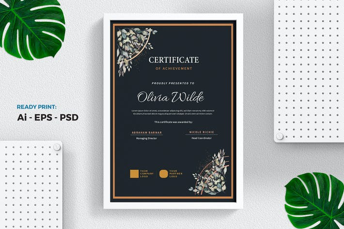 Thumbnail for Floral vintage Certificate / Diploma Template