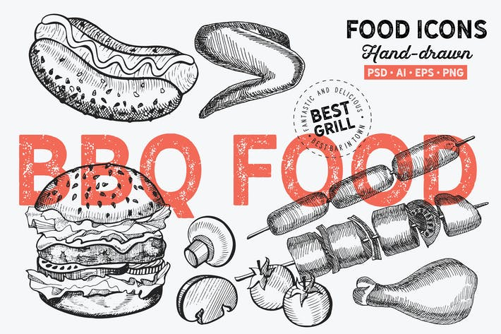 Thumbnail for BBQ Food Hand-Drawn Graphic