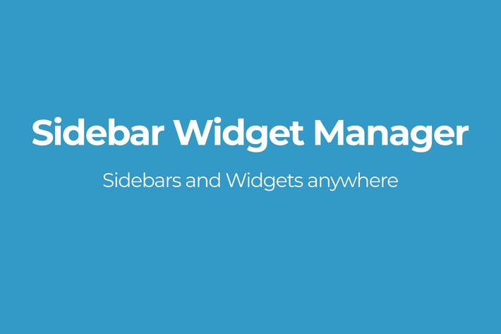 Thumbnail for Sidebar Widget Manager