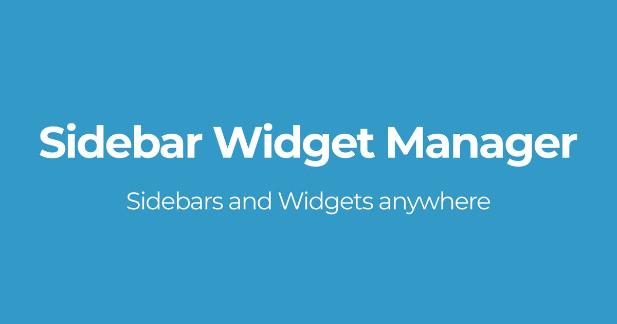 Download Sidebar Widget Manager by OTWthemes