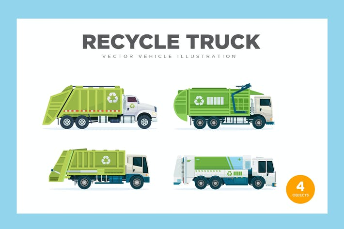 Thumbnail for Recycle Garbage Truck Vector Set Illustration
