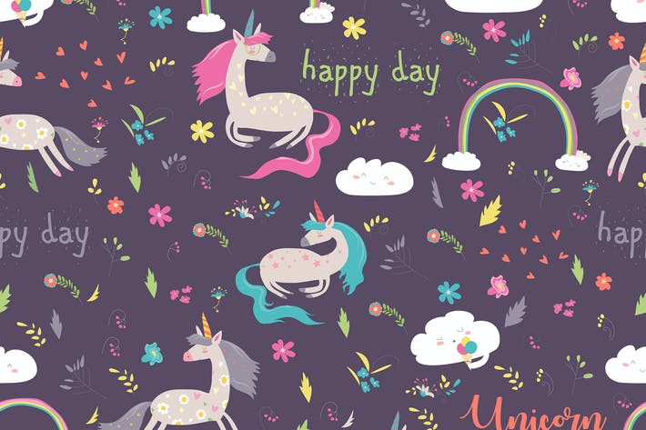 Cover Image For Vector cartoon seamless pattern girl with unicorn.
