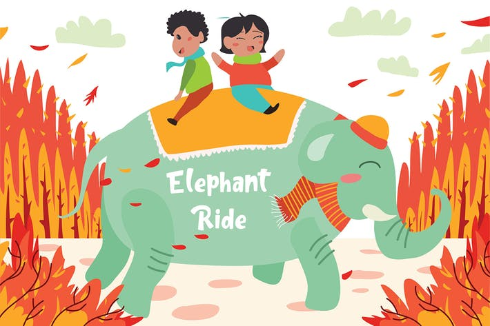 Thumbnail for Elephant Ride - Vector Illustration