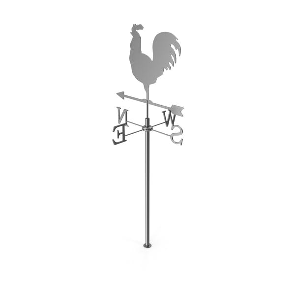 Silver Rooster Chicken Metal Weathervane
