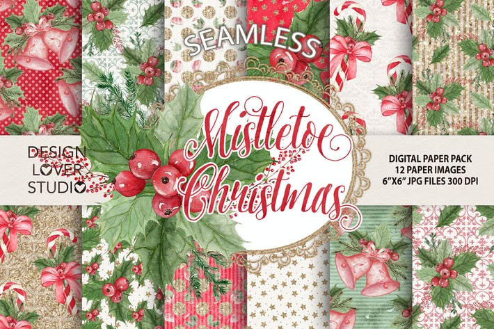 "Thumbnail for Watercolor ""Mistletoe Christmas"" digital papers"