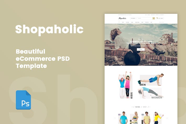 Cover Image For Shopaholic - Beautiful eCommerce PSD Template