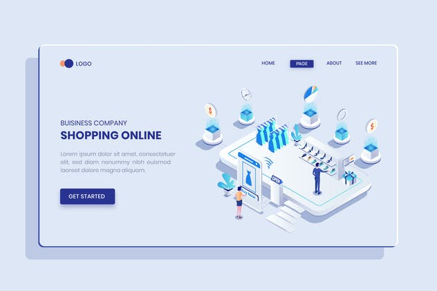 Shopping Online Isometric Vector Concept