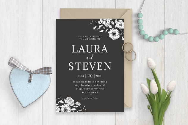 Minimal BW Wedding Invitation Template
