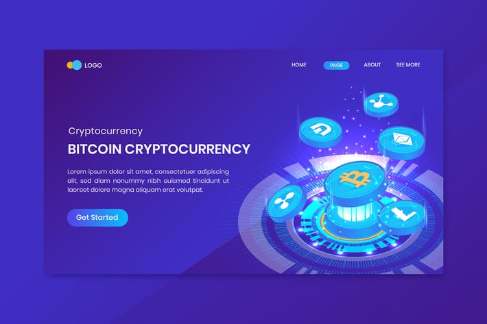 Thumbnail for Cryptocurrency Isometric Bitcoin Landing Page