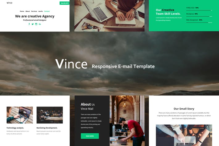 Thumbnail for Vince Mail - Responsive E-mail Template