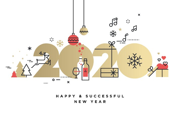 Thumbnail for Business Happy New Year 2020 greeting card