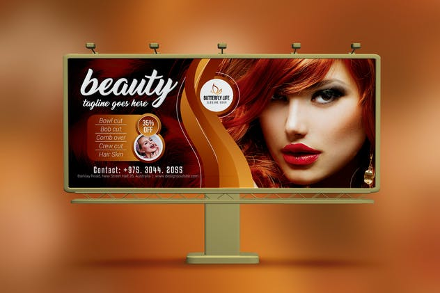 Golden Beauty Salon Billboard - product preview 0