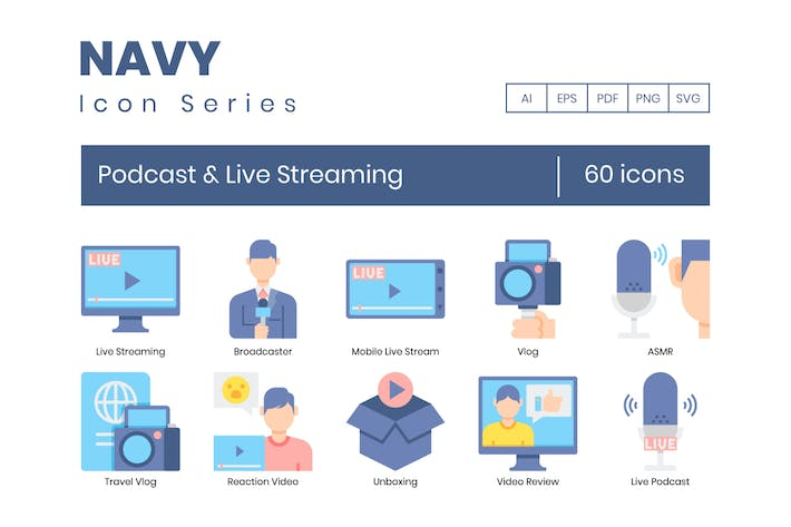 Thumbnail for 60 Podcast & Live Streaming icons